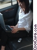businesswoman working in a limousine Stock photo