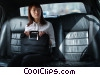 businesswoman in a limousine Stock photo