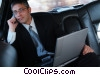 man talking on the phone in a limousine Stock photo