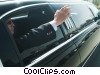 businessman waving from his limousine Stock photo