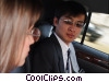 business people traveling in a limousine Stock photo