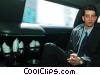 businessman traveling in a limousine Stock photo