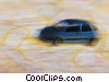 automobile driving on a map Stock photo