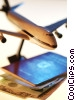 747 model airplane with passport documents Stock photo