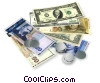 Stock photo  of a dollars & coins