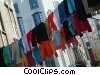 laundry hanging on the clothes line Stock photo
