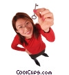businesswoman holding key to success Stock photo