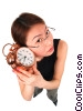 businesswoman listening to alarm clock clipart