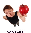 Stock photo  of a businesswoman holding an apple