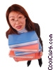 Stock photo  of a businesswoman holding binders