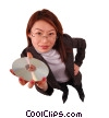 Stock photo  of a businesswoman holding cd-rom