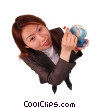 businesswoman with a globe Stock photo