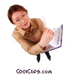 businesswoman doing paper work Stock photo