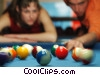 Stock photo  of a male and female pool players
