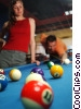 male and female pool players Stock photo