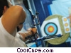 archer shooting at target Stock photo