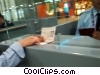 Stock photo  of a showing passport in airport