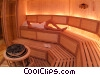 Stock photo  of a woman relaxing in the sauna