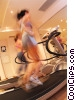 women running on the treadmill Stock photo