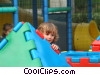boy playing on play structure Stock photo