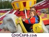 children on a ride at the amusement park Stock photo