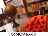 library setting with books, chair and a globe Stock photo