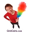 Stock photo  of a woman with duster