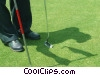 golfer replacing flag stick Stock photo