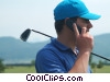 Stock photo  of a golfer on his cell phone