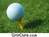 Stock photo  of a golf ball on a tee