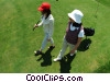female golfers walking on the green Stock photo