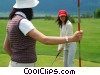 female golfer putting Stock photo