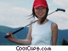 female golfer with her putter Stock photo