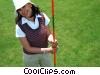 female golfer holding the flag stick Stock photo
