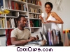 couple working in their home office Stock photo