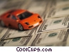 financial concept sports car with dollars Stock photo