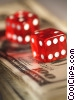 financial concept dollars with dice Stock photo