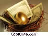 Stock photo  of a nest egg with dollars