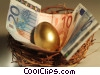 nest egg with Euros Stock photo