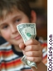 boy crushing a dollar bill Stock photo