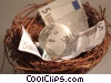 financial concept money in a nest with globe Stock photo