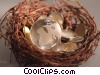 Stock photo  of a coins in a nest with globe