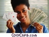 woman holding a poker hand & cash Stock photo