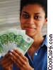 woman holding cash Stock photo