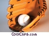 Stock photo  of a baseball glove and ball