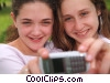 girls taking a picture of themselves Stock photo
