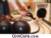 Stock photo  of a girl picking a bowling ball