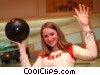 Stock photo  of a girl bowling