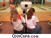 girls bowling Stock photo