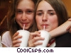 girls having cold drinks clip art